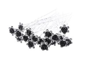 noir Accessoires cheveux 1 lot de 10 épingles à chignon fleurs à strass