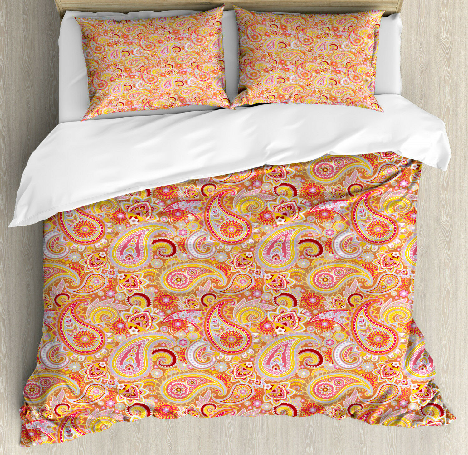 orange Duvet Cover Set with Pillow Shams Asian Paisley Print