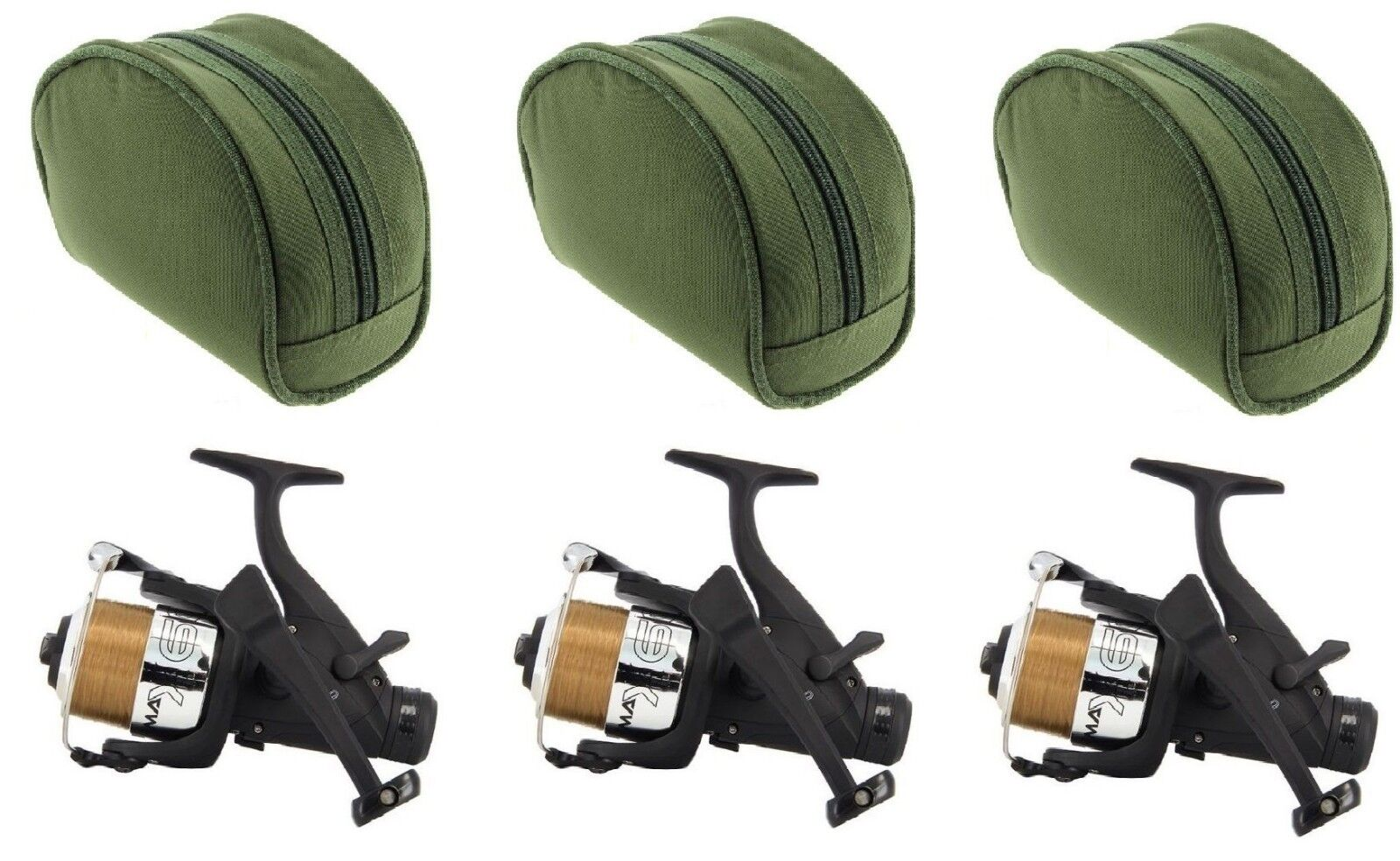 3 x MAX 6000 Size Freespool Carp Fishing Reels Bait Switch Runner Reels & Cases