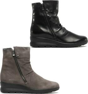 Mephisto-PHILA-Womens-Ladies-Leather-Zip-Up-Wedge-Heel-Ankle-Boots-Black-Grey
