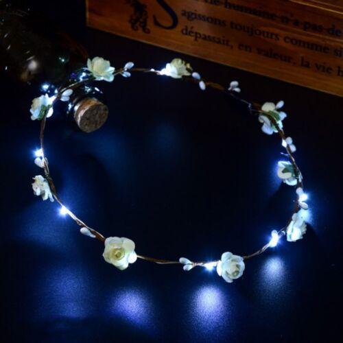 Mode Romantic Xmas Party Frauen Mädchen Led Licht Auf Blume Bündchen Haar Gift*`