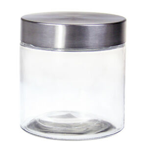 66a960b1ccbd Details about 24 x 830ml Stainless Steel Silver Lid Glass Jars Pantry Food  Storage Jar