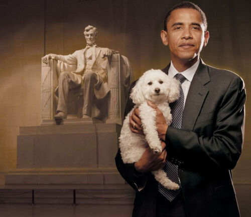 Barack Obama UNSIGNED photograph 7158 With his dog