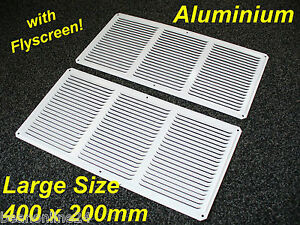 2-Pack-Aluminium-Air-Vent-400-x-200mm-White-with-Flyscreen-Eave-Ventilation