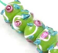 """Lampwork Handmade """"Chateau Rose"""" Rondelle Beads Green 6"""