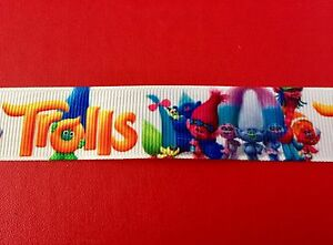 TROLLS-on-WHITE-Grosgrain-RIBBON-1Mtr-X-22mm-For-Craft-Hair-Gifts-Cakes