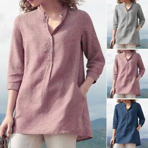 ZANZEA-Women-039-s-Buttons-Neck-Casual-Long-Shirt-Tops-Loose-Plain-Oversize-Blouse