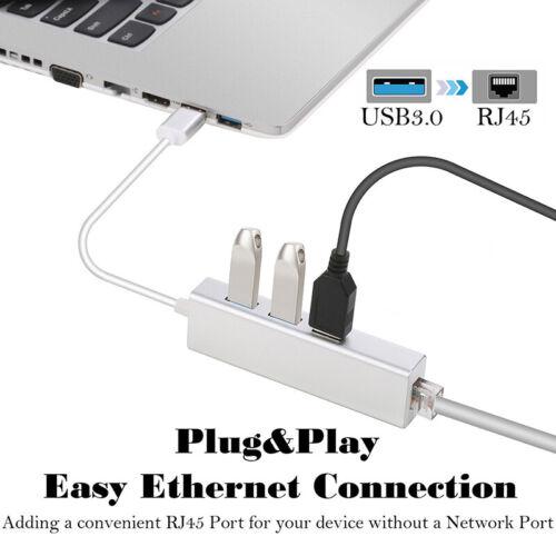 USB 3.0 3 ports Gigabit Ethernet Lan RJ45 Network Adapter Hub to 1000Mbps mac pc