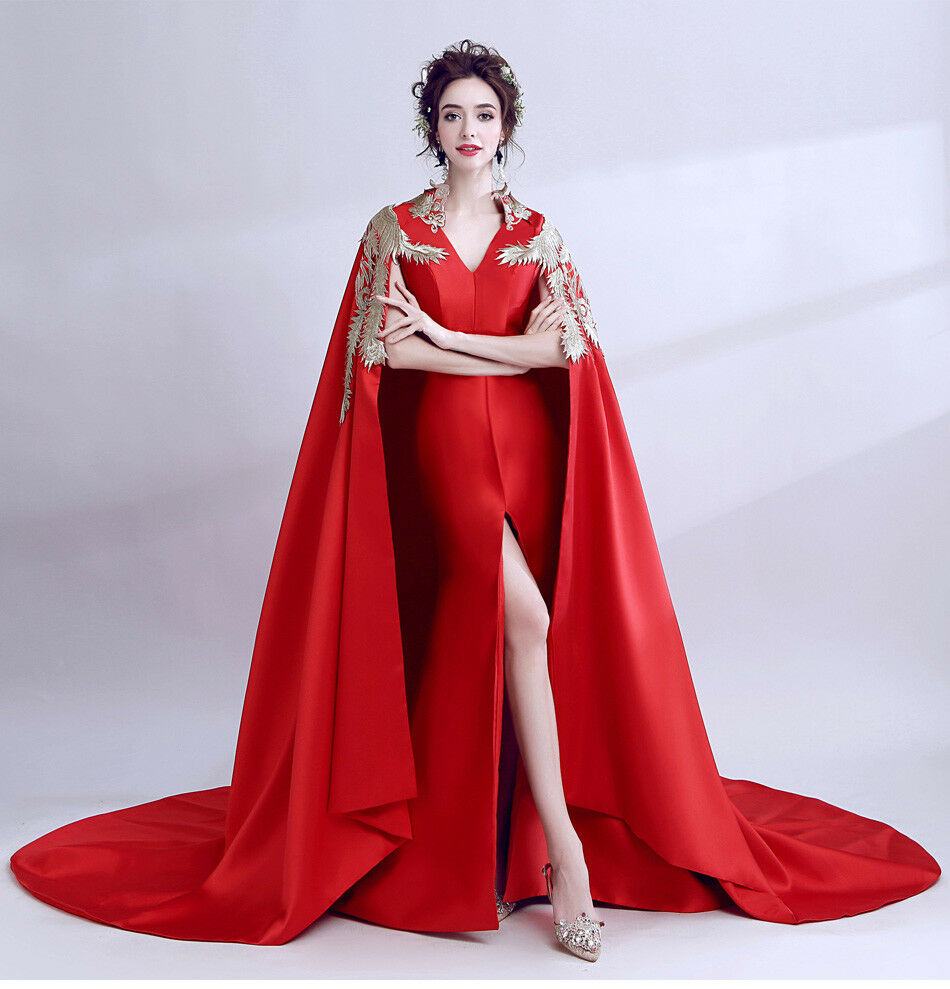 Women Luxury Banquet Embroidery Phoenix V-Collar Casual Maxi Wedding Dress Cloak