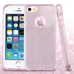 Dettagli su COVER Custodia Glitter Morbida Silicone GEL per Apple iPhone 5 5S SE Rosa