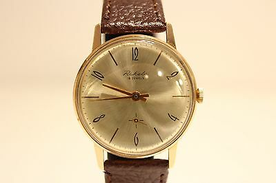 "VINTAGE CLASSIC MEN'S GOLD PLATED USSR RUSSIA WATCH""RAKETA""16 J./GOLDEN DIAL"