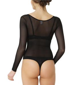 Kefali-Black-Lace-Bodysuit-Leotard-Sheer-Mesh-Body-Thong-See-Through-Lingerie