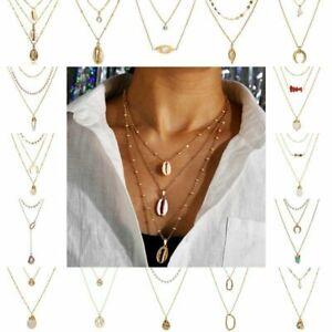Boho-Women-Multi-layer-Long-Gold-Chain-Necklace-Crystal-Pearl-Pendant-Choker-NEW