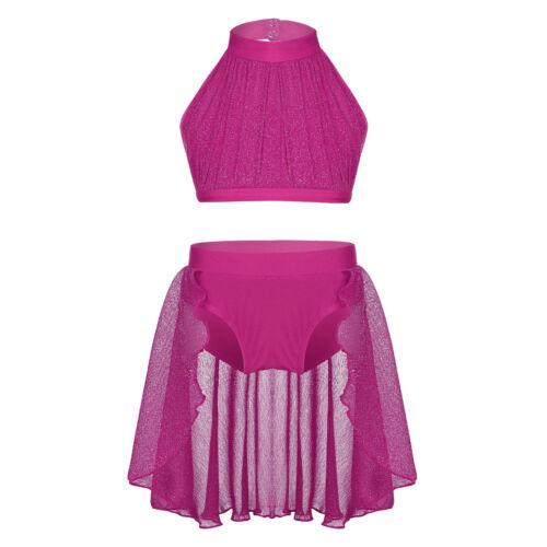 Girls Dance Outfit Crop Top+Shorts//Dress Ballet Gym Yoga Lace Dancewear Costume