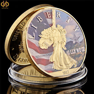 USA-Great-Seal-Statue-Of-Liberty-American-Hollywood-Movies-Gold-Plated-Coins