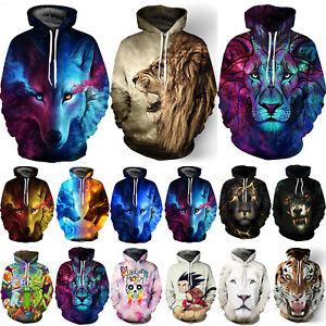 3D-Graphic-Men-Women-039-s-Hoodie-Sweater-Sweatshirt-Jacket-Coat-Pullover-Animal-Top