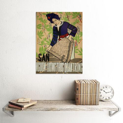 PROPAGANDA VIETNAM WAR CASSAVA FOOD WOMEN POSTER ART PRINT 30X40 CM BB2777B