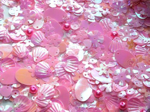 UK 10g mixtas Coser Pegamento En Lentejuelas /& Cuentas Conchas Estrellas Corazones 13 Colores Bebé Rosa