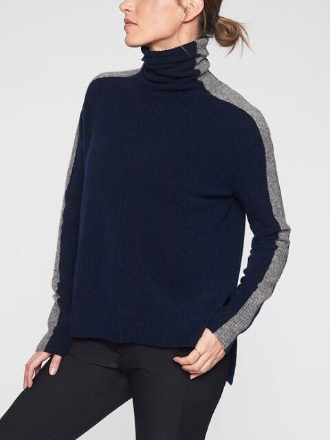Athleta Transit Colorblock Pullover Turtleneck Sweater S Small NavyGrey #420454