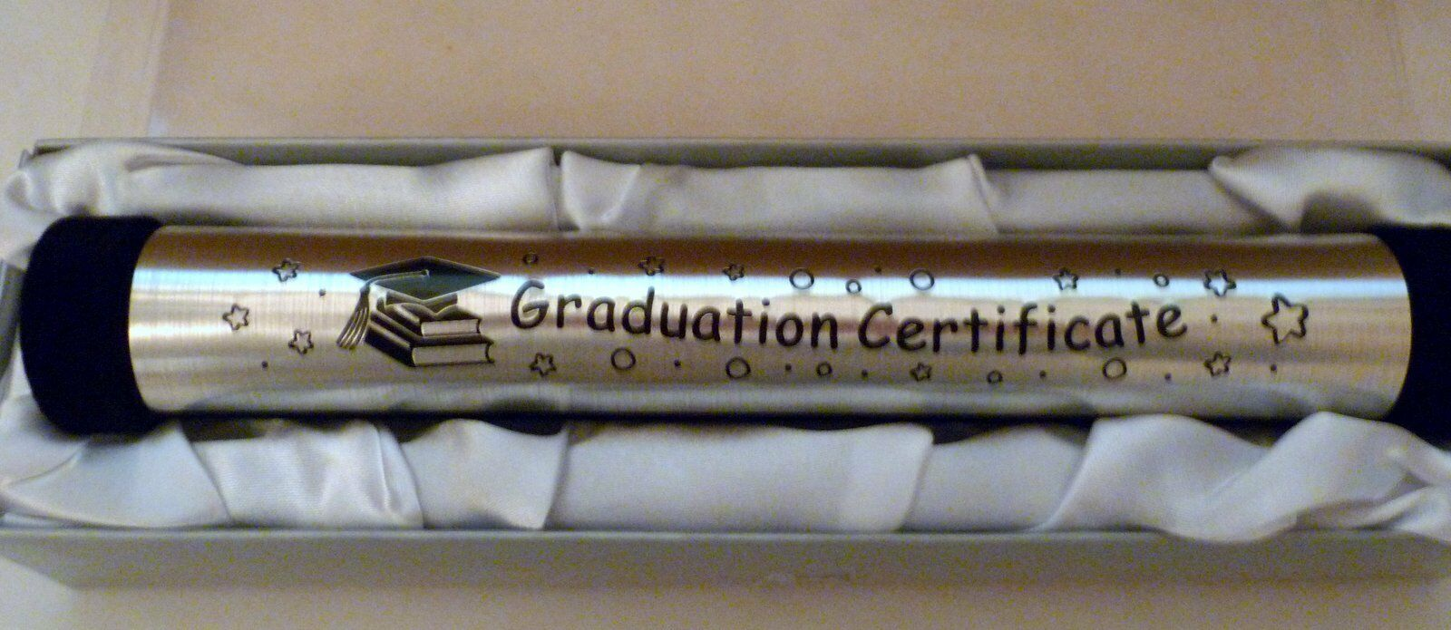 Graduation Certificate Holder In Satin Lined Silver Gift Box Tied With Ribbon For Sale Online