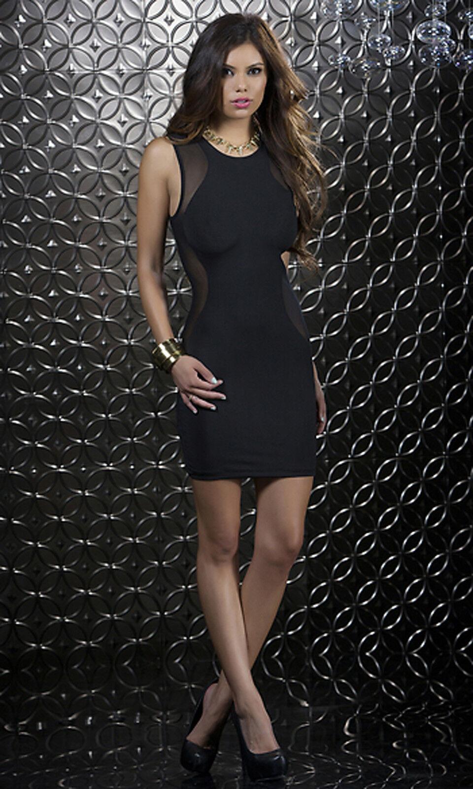Sexy Mini Abito black Vestito Aderente Trasparente Elasticizzato Clubwear Forplay
