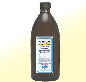 Milchsaeure-21-500ml-Glas-Flasche-Lactic-Acid-AHA-E270-natuerlich-gewonnen