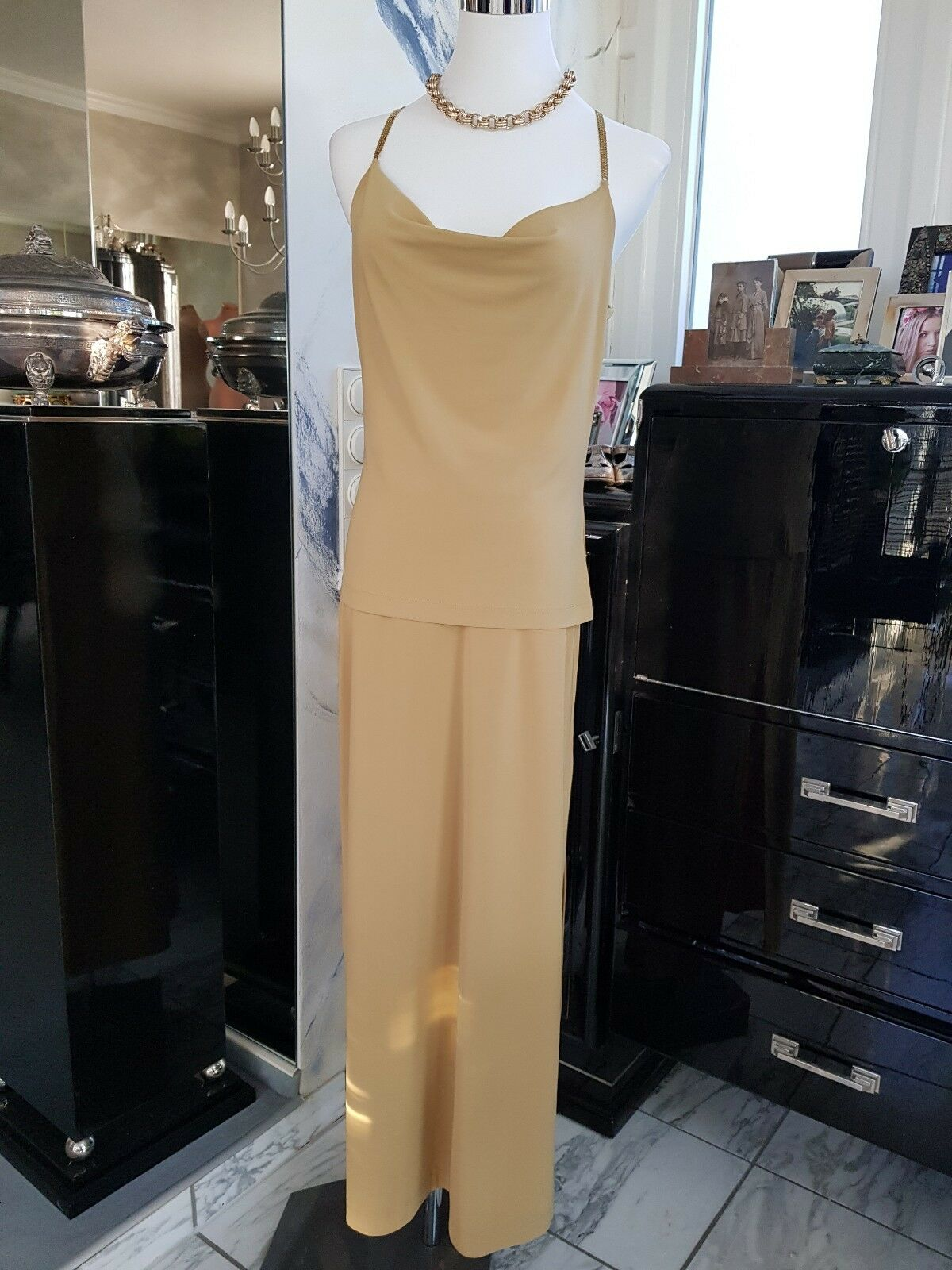 b7b1572e7f34 PLEIN SUD Abendkleid Gr. Gr. Gr. DE 36 38 cremebeige Damen Dress 2 ...