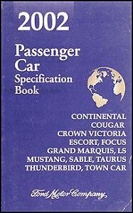 2002 Ford Service Specs Manual Mustang Focus Thunderbird Crown Victoria Focus