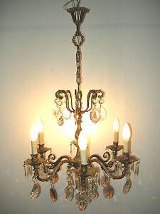 Lustre ancien classique de style baroque vintage chandelier ebay - Lustre a pampilles ancien vendre ...