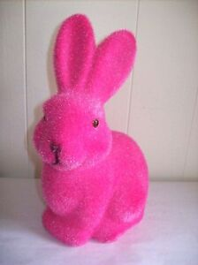 9-034-Flocked-Bunny-Figure-Pink-SO-CUTE