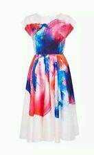 BNW *COAST* Size 8, HYPER BLOOM PRINT FLORAL MULTI DRESS, Satin Feel New, £150
