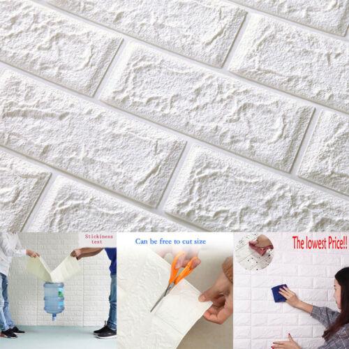 3D PE Foam Self Adhesive White Panels Wall Sticker DIY Home Decor Embossed Brick