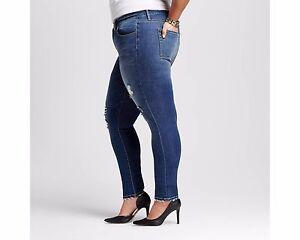 1256a5e7dbb Ava Viv Plus Size Super Stretch Skinny Jeans Vintage Distressed Blue ...