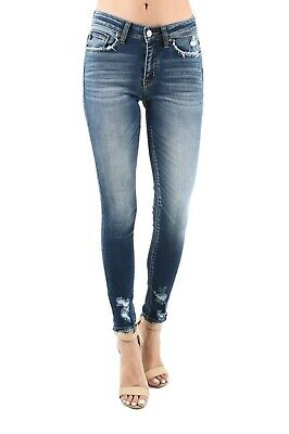 Kan Can USA Distressed Skinny Ankle Jeans KC8376D