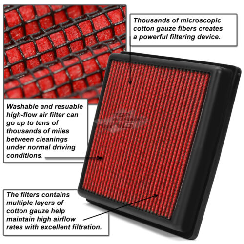 WASHABLE DROP IN PANEL PERFORMANCE AIR FILTER FOR 05-10 TACOMA//TUNDRA SR5 RED