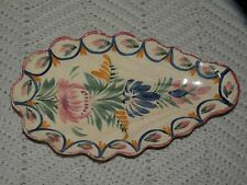 """VINTAGE HB QUIMPER FAIENCE OVAL SCALLOPED RELISH DISH 10 1/4"""""""