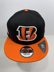 New-Era-9FIFTY-Black-amp-Orange-Cincinnati-Bengals-SnapBack-Flat-Bill-Cap-NEW