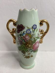 "Vintage Bone China Floral Design Bud Vase Sawtooth Top Gold Handles 5-3/4"" Tall"