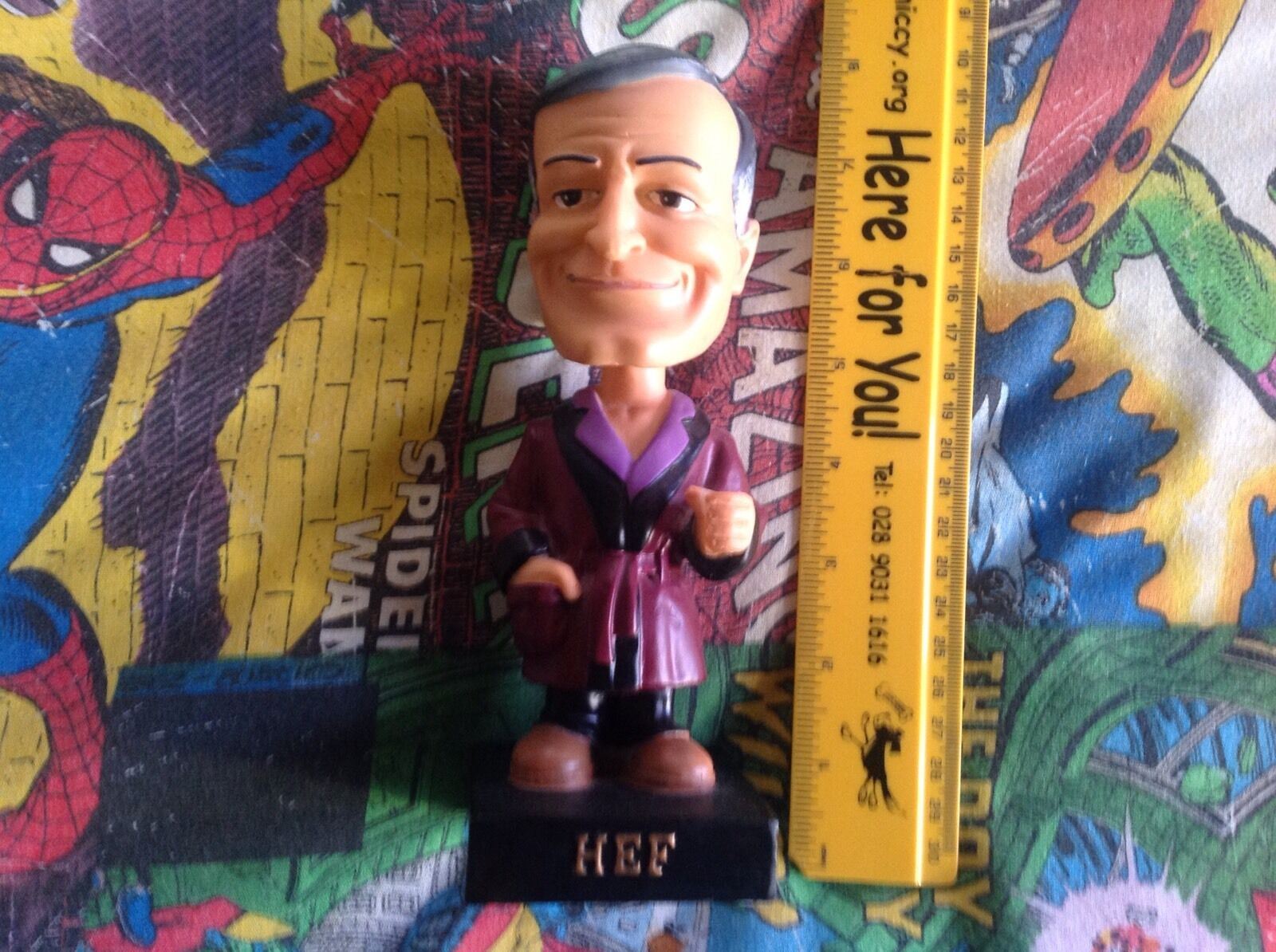 PLAYBOY-HUGH HEFNER-Bobble Head  - 2004-HEF-PLAYBOY BUNNY-MOLTO RARO  autorizzazione