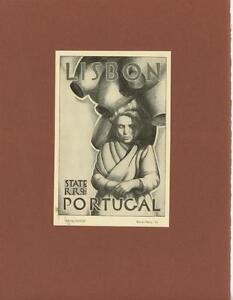VINTAGE LISBON PORTUGAL TRAVEL POSTER ARTIST WARREN BERRY MSA RARE ART OLD PRINT