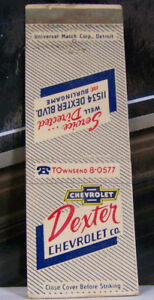 Vintage-Matchbook-Cover-P1-Warren-Michigan-Dexter-Chevrolet-11534-Dexter-blvd