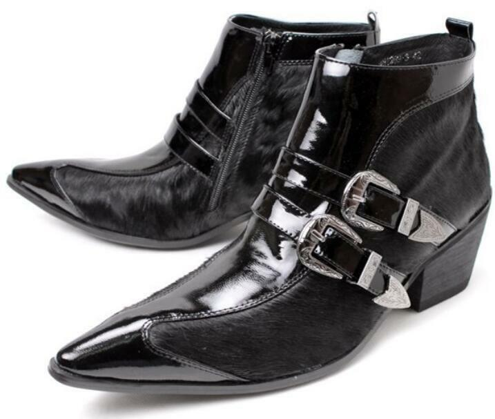 Hot New Mens Buckle Formal Dress Pointy Toe Leather Ankle Boot Shoes Punk Rock