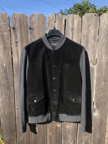 $3K GUCCI Suede Leather Crest Varsity Bomber Jacke