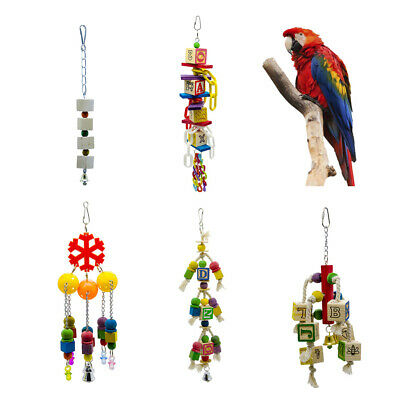 Parrot Cage Hanging Chewing Toys Grinding Beak Toy for Small Medium Parrots