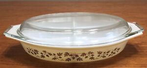 Vintage Pyrex 1960-1963 Gold Acorn 1.5 Quart Cinderella Oval Divided Dish W/Lid