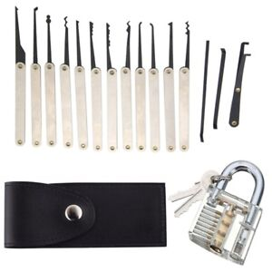 12 Pcs Unlocking Lock Pick Tools Set Key Extractor+Transparent Practice Padlocks