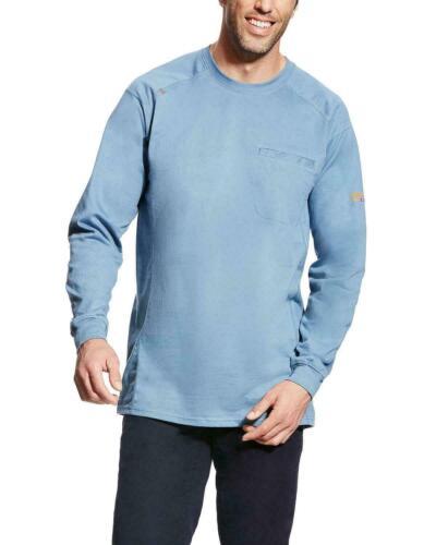 Ariat Men/'s FR Air Crew Long Sleeve BLUE STEEL Work Shirt 10022330