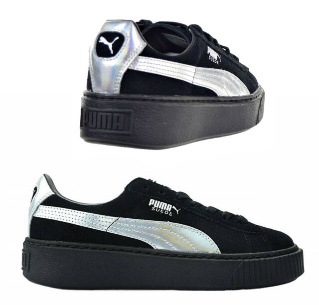 c0d34e9e0147 Puma Suede Platform Explosive Lace Up Lo Black Womens Trainers 363649 01 U31