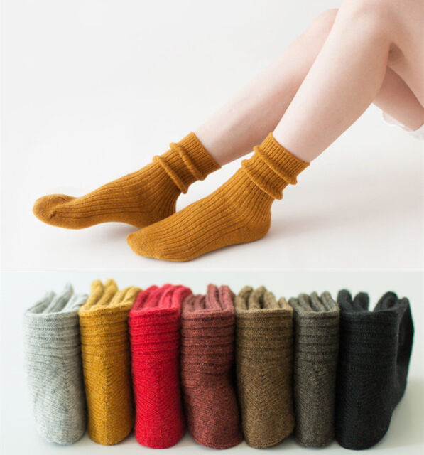 10 Pairs Women 90/%Wool Cashmere Socks Lot Casual Dress Solid Thick Warm Knit