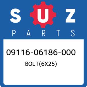 09116-06186-000-Suzuki-Bolt-6x25-0911606186000-New-Genuine-OEM-Part